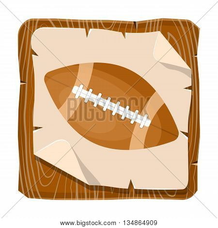 Rugby ball colorful icon. Vector illustration in cartoon style