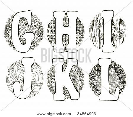 Doodle Alphabet In Circle
