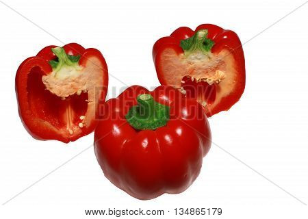 red bell pepper paprika isolated on white background