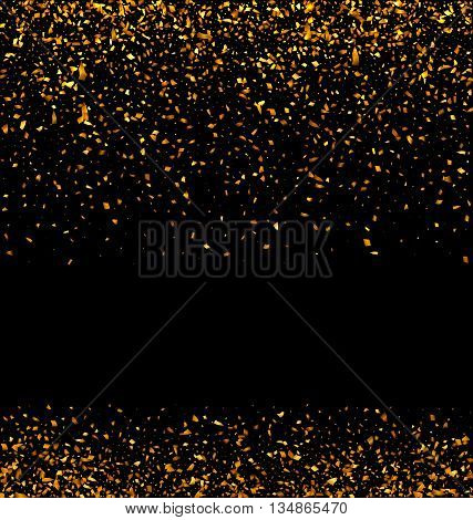 Illustration Golden Glitter Texture on Black Background. Holiday Glossy Background - Vector
