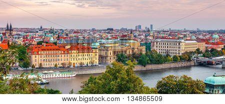 Sunset landscape view to vltava river in prague czech republic