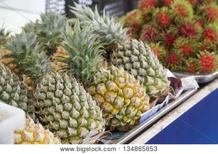 Pineapple fruit in the market of Thailand