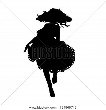 silhouette of a dancing girl in a fluffy skirt and developing hair