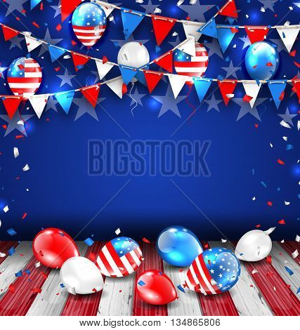 Illustration Colorful Template for American Holidays, Bunting, Balloons and Confetti. Space for Your Text. Traditional Colors of USA - Vector