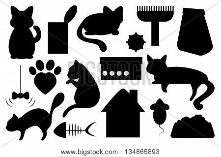 Cat pet vector illustration, cat food, cat toy, cat paw mark and house black on white clip art