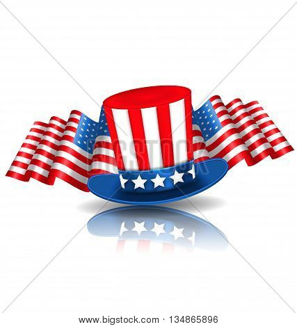 Illustration Festive Background in American National Colors with Uncle Sam Hat and Flags - Vector