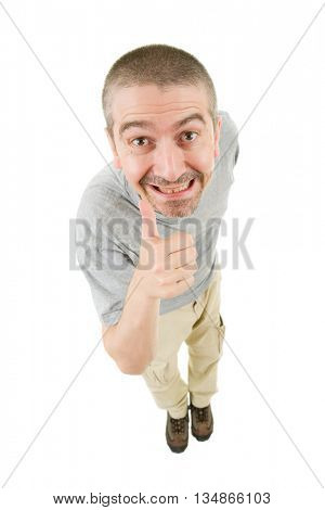 geek silly man full length going thumb up, isolated