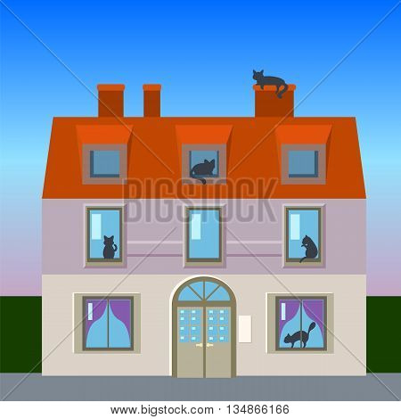Retro house with cats, flat vector illustration vintage house with cat silhouettes