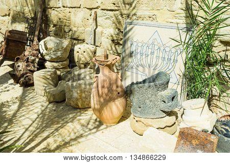 JERICHO, ISRAEL - MAY 2: The ancient monastery utensils in Gerasim Jordan monastery May 2, 2016 in the Judean desert near Jericho, Israel
