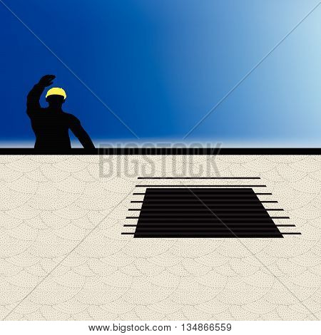 Worker Silhouette With Yellow Protective Headgear