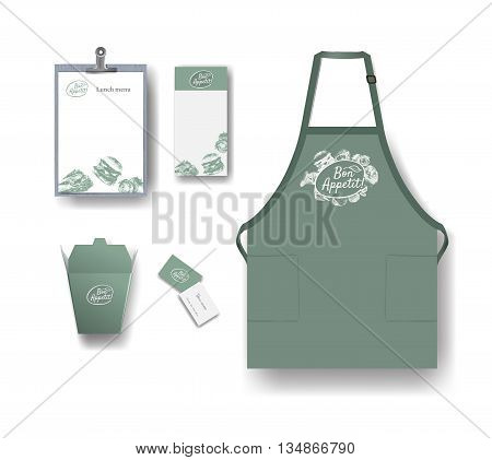 Vector restaurant cafe set: package menu flyer business card and apron. Layout set of corporate identity. Mock up template.