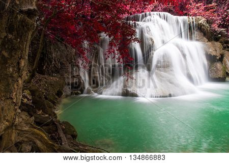 waterfall in autumn forest (Huay Mae Kamin)Thailand