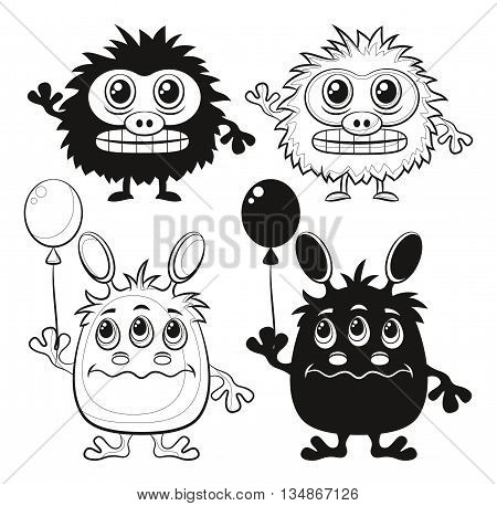 Set of Cute Different Cartoon Monsters, Black Contour and Silhouette Characters with Toy Balloon, Elements for your Design, Prints and Banners, Isolated on White Background. Vector