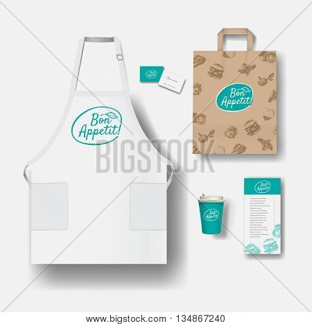 Vector restaurant cafe set: paper coffee cups menu paper bag business card and apron. Layout set of corporate identity. Mock up template.