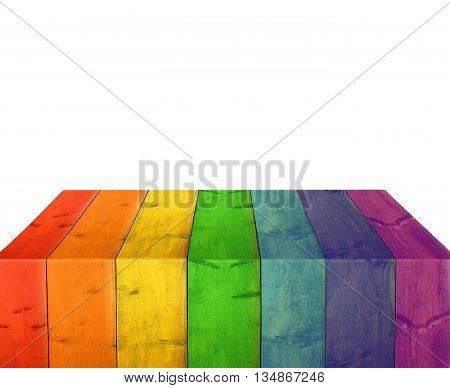 bright stand from wooden boards isolated on the white. Multicolored decorative element