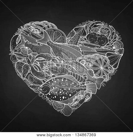 Graphic seafood in the shape of heart. Sea and ocean creatures isolated on chalkboard