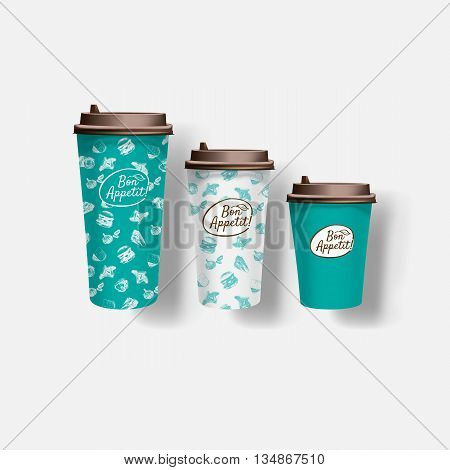 Vector restaurant cafe set: paper coffee cups. Layout set of corporate identity. Mock up template photorealistic vector paper coffee cups