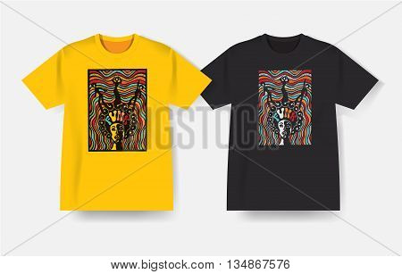 T-shirt with Funk music print. Vector design