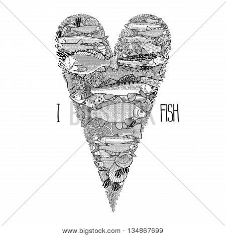 Graphic ocean  fish in the shape of tilda heart. Saltwater and freshwater fish for seafood menu. Sea and ocean creatures isolated on white background. Coloring book page design for adults and kids