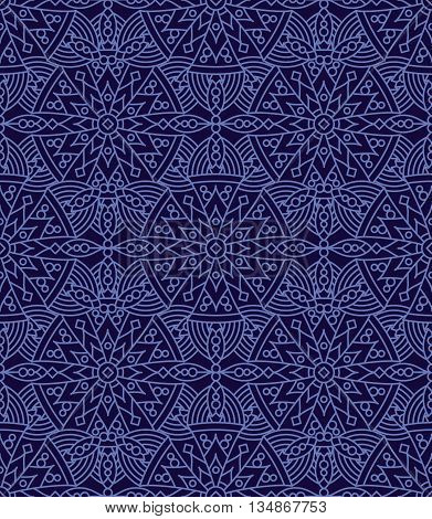 Seamless (repeatable, you see 4 tiles) highly detailed elegant vintage pattern background of dark blue night colors