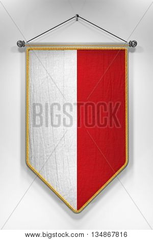 Pennant  Polish flag. 3D illustration with highly detailed texture.