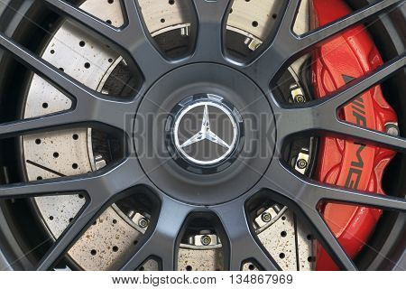 TURIN, ITALY - JUNE 13, 2015: Closeup of a Mercedes AMG GT wheel