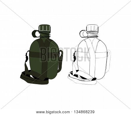 Old opened military soldiers hiking flask in a canvas carrying case with last drop of water. Isolated on white background. Vector