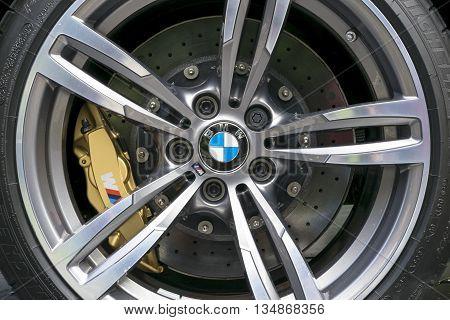 TURIN, ITALY - JUNE 13, 2015: Closeup of a BMW wheel