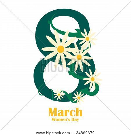 Womens day design poster. 8 March international womens day with chamomiles. Vector illustration eps 10
