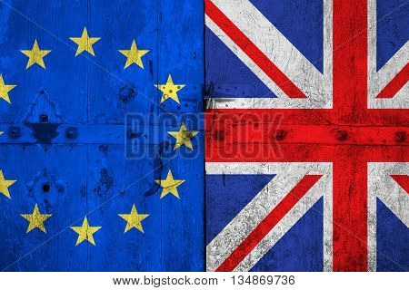 brexit blue european union EU flag and half great britain flag on old wood door vote for referendum united kingdom exit concept