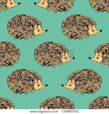 Hedgehog seamless pattern. Cute cartoon animal background. Boho striped. Vector
