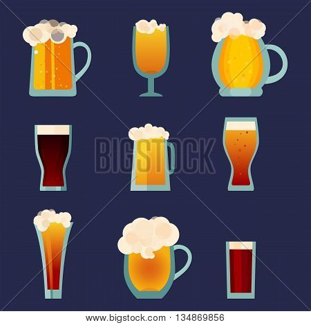 Beer glass cups icons set. Beer bottle isolated logo.  Beer label,  beer mug. Oktoberfest beer pub collection. Beer vector illustration EPS 10