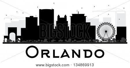 Orlando City skyline black and white silhouette. Vector illustration. Simple flat concept for tourism presentation, banner, placard or web site. Cityscape with landmarks