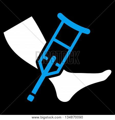 Leg and Crutch vector icon. Style is bicolor flat icon symbol with rounded angles, blue and white colors, black background.