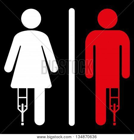 Patient WC Persons vector icon. Style is bicolor flat icon symbol with rounded angles, red and white colors, black background.