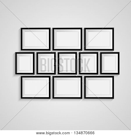 Many black blank picture. Frame template for design poster. Picture frames set. Vector EPS10