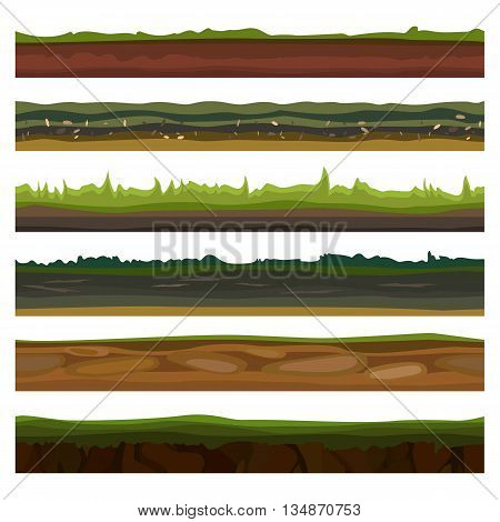 Seamless different grounds, soils and land set for UI games. Surface green grass. Vector illustration EPS10