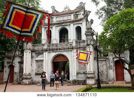 HA NOI, VIET NAM, April 30, 2016 the historic cultural and Temple of Literature. center of Ha Noi, Vietnam