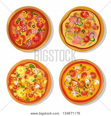 Set of flat hot pizza icons. Pizza isolated on white, pepperoni pizza. Vector EPS10