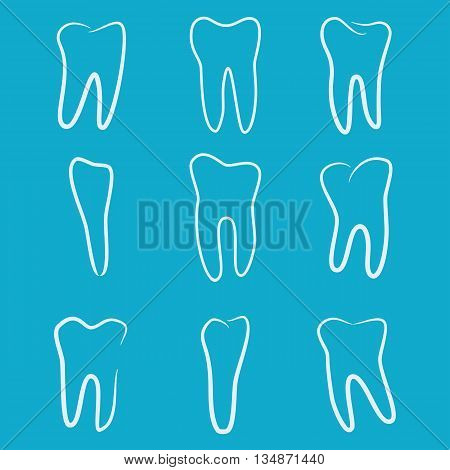 Human teeth icons set isolated on blue background for dental medicine clinic. Linear dentist logo. Vector EPS10