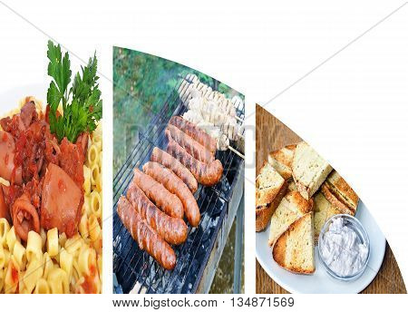 food collage with sausages cuttlefish with spaghetti and greek bread - white space for text