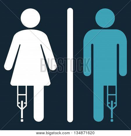 Patient WC Persons vector icon. Style is bicolor flat icon symbol with rounded angles, blue and white colors, dark blue background.