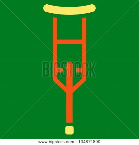 Crutch vector icon. Style is bicolor flat icon symbol with rounded angles, orange and yellow colors, green background.