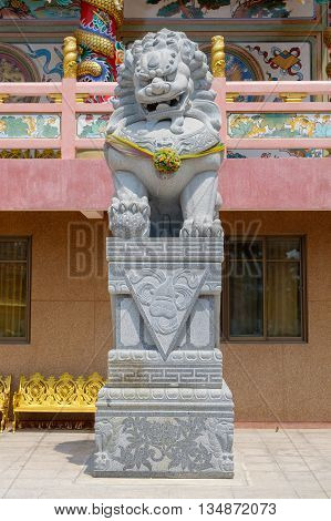 Chinese lion statue also called the guardian lion.