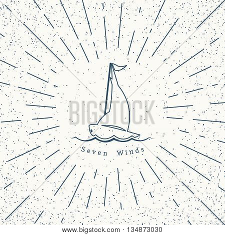 Retro nautical lineart label with yacht. Vector template for logo design of travel agencies, tourist offices, boat rental or cruise.