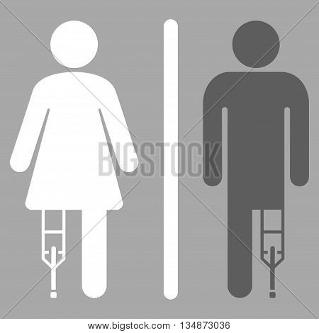 Patient WC Persons vector icon. Style is bicolor flat icon symbol with rounded angles, dark gray and white colors, silver background.