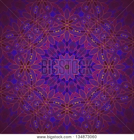 Abstract geometric seamless background. Delicate circle ornament in violet, purple and dark blue shades with  yellow outlines, ornate and dreamy.