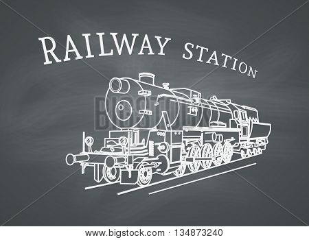 Steam locomotive illustration. Vector retro train on chalkboard background