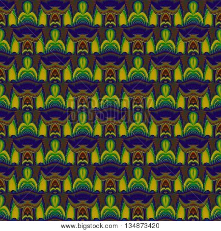 Abstract geometric seamless background. Regular ellipses pattern with wavy lines. Elements in yellow green, blue, purple and brown shades, ornate, vividly and conspicuous.