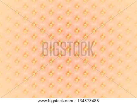 Abstract geometric seamless background. Regular dots diagonally yellow orange on pink, centered, blurred and shiny.